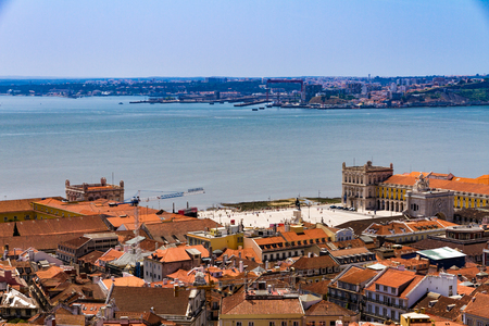 Top view of Commerce square in summer in downtown Lisbon, Portugal
