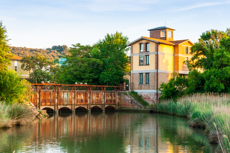 Water flow control station in Follonica, Tuscany, Italy, in summer