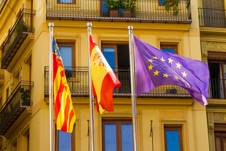 Valencia, Spain. Flags near the seat of the Valencian government in the city center