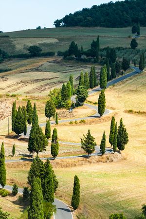 Winding road in summer near Pienza in Tuscany, Italy