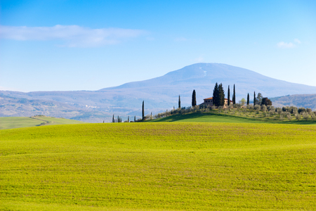 Siena area, Italy. Beautiful view of the country hills in a spring late afternoon