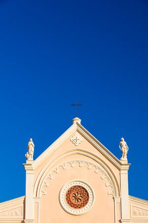 Nativita Beata Vergine Maria (Nativity Blessed Virgin Mary) Church in summer in Portoferraio, Italy