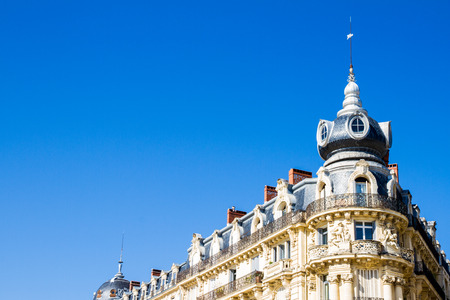 Montpellier, France. Historical buildings in Place de la Comedie in a sunny day in summer Redactioneel