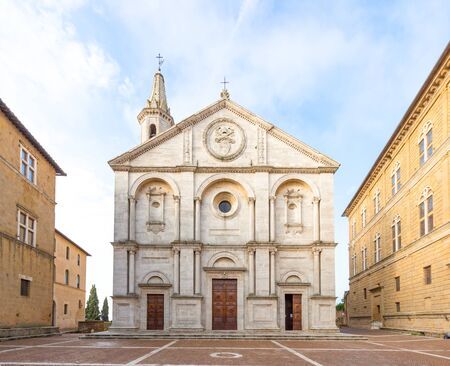 Beautiful view of the Cathedral of Pienza perspective corrected and Pio II square, Italy, at morning, nobody visible Banco de Imagens