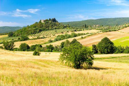 Beautiful view of sunny hills in springtime near Massa Marittima in Tuscany, Italy