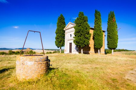 Siena, Italy - August 14, 2013: The Madonna di Vitaleta chapel in summer in a sunny day