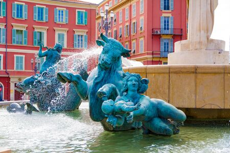 Nice, France - September 12, 2018: The Fountain of the Sun in Massena square in a summer day