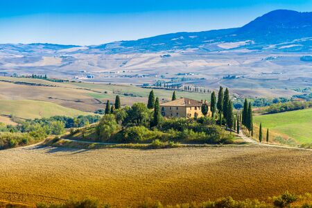 Siena, Italy - September 22, 2013: Beautiful view of Podere Belvedere in late summer