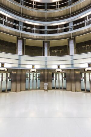 Barcelona, Spain - September 06, 2018: View of the lifts in the lobby of the Llefia metro station in Barcelona, Spain
