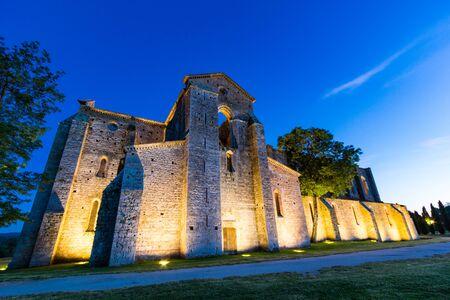 Siena, Italy - June 15, 2019: San Galgano abbey ruins in Chiusdino near Siena. San Galgano is a roofless Cistercian abbey in Tuscany.