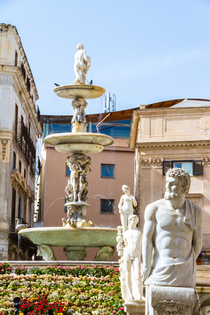 The Praetorian Fountain (Italian: Fontana Pretoria) (1554) is a monumental fountain of Palermo, Sicily, Italy Editorial
