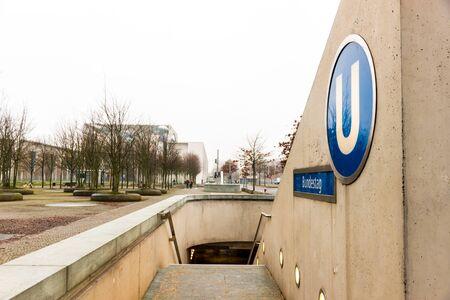 Berlin, Germany - December 19, 2017. A U-Bahn station sign at Bundestag in winter Sajtókép