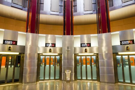 Barcelona, Spain - September 06, 2018: The lifts linking the lines L1 and L9, and the lobby in the Fondo metro station Sajtókép
