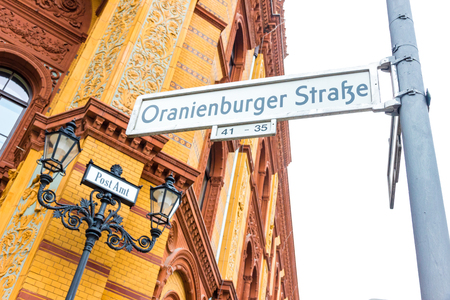Berlin, Germany. particular of the historic post office in oranienburger street in the mitte district