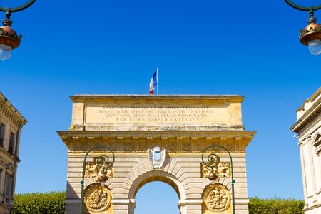 Porte du Peyrou, Montpellier, France. Inscr: Louis the Great reigned 72 yr., conspirator nations were repressed and reconciled to the loyal ones during a four decades war, peace on land and sea, 1715 Stock fotó