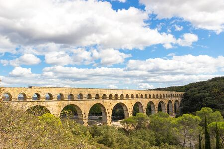 The Pont du Gard is an ancient Roman aqueduct in southern France Stock fotó - 132033568