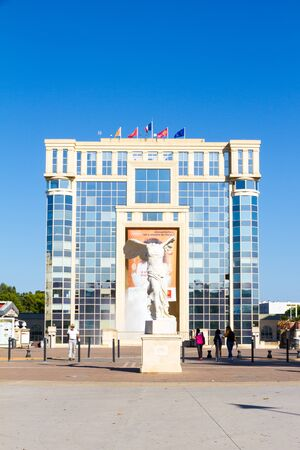 Montpellier, France - September 11, 2018: The Antigone district in a beautiful sunny summer afternoon Sajtókép