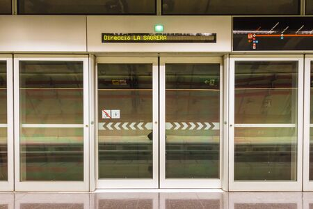 Barcelona, Spain - September 06, 2018: The platform on the L9 in the Fondo metro station Sajtókép