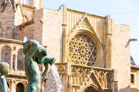 Valencia, Spain - September 07, 2018: The Metropolitan Cathedral–Basilica of the Assumption of Our Lady of Valencia in the afternoon in summer Sajtókép