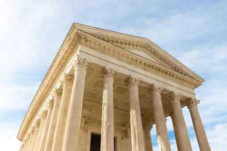 The Maison Carree (square house) is an ancient Roman temple in Nîmes, southern France Stock Photo