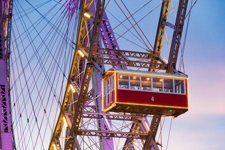 Vienna, Austria - December 20, 2019: The Wiener Riesenrad (Vienna Giant Wheel) (1897) is a Ferris wheel at the entrance of the Prater amusement park in Vienna, Austria