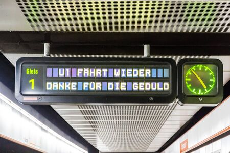 Vienna, Austria - December 20, 2019: metro station variable message sign reading Platform 1. U1 runs again Thanks for the patience after the stop of December 16 due to a fire accident