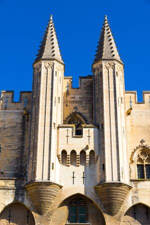 Avignon, France - September 26, 2019: The Palais des Papes (Palace of the Popes) an historical palace (built in the 1300s) in a sunny afternoon in september