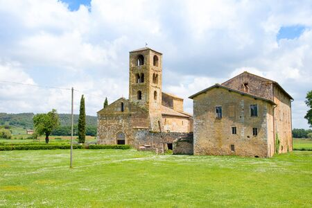 Parish church of St John the Baptist near Sovicille (SI) in Tuscany, Italy, in springtime