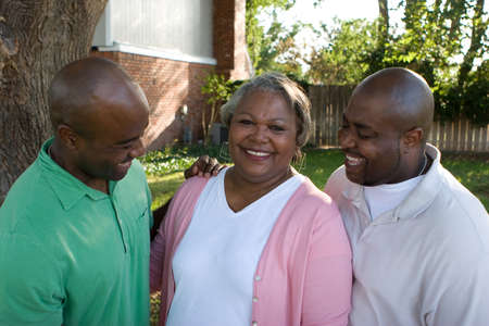 African American mother and her adult sons.