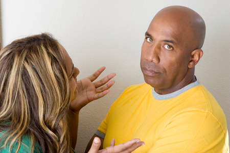 nagging: Unhappy couple arguing and having relationship problems.