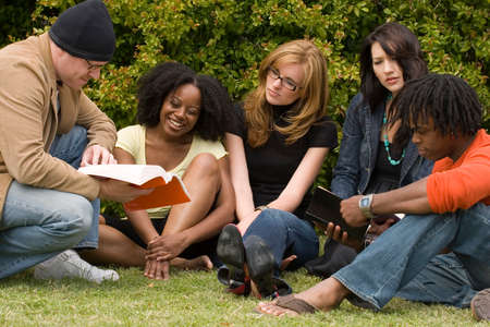 Diverse group of people reading and studying. Stock Photo