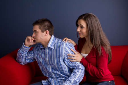 Couple arguing and having relationship problems.
