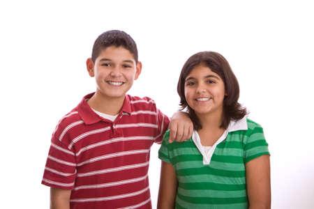 幸せな兄と妹の笑顔します。 写真素材