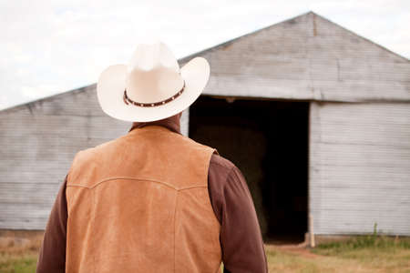 standoff: Rear view of an African American cowboy.