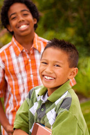filipino people: Happy young kids smiling and laughing. Stock Photo