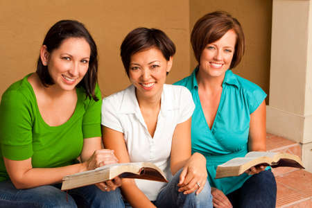 Womens small group Bible Study. Multicultural small group. Stock Photo