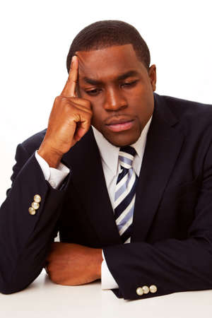 African American businessman in deep thought.