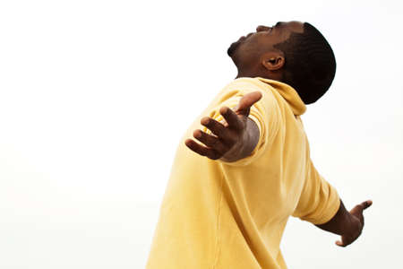African American man with open arms. Stock Photo