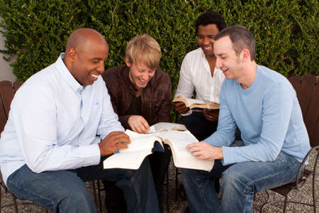 Mens Group Bible Study. Multicultural small group. Stock Photo