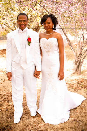 Bride and groom on their wedding day.