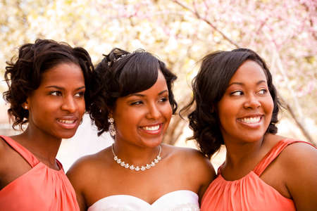 African American bride with her bridesmaids. Banque d'images
