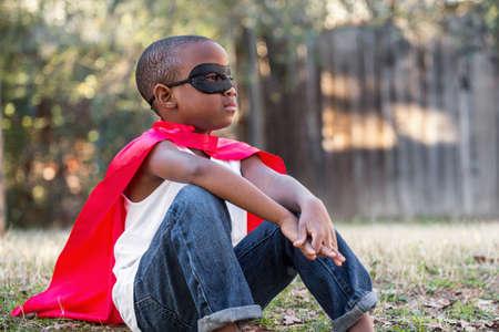 アフリカ系アメリカ人の小さな少年ヒーロー 写真素材