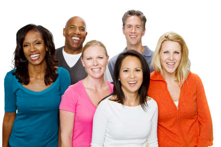 Multi ethnic group of friends smiling. Stock Photo