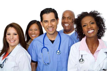 친절 히스패닉 간호사 또는 의사 웃 고. 스톡 콘텐츠