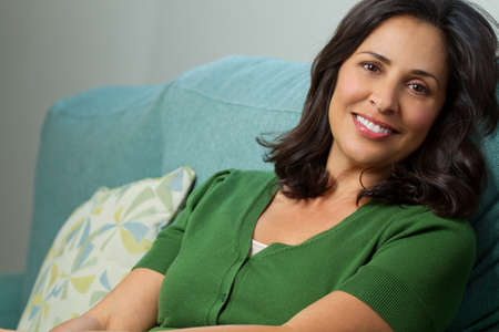 Beautiful Confident Hispanic Woman Smiling Stock Photo - 89618569