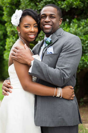 African American bride and groom.