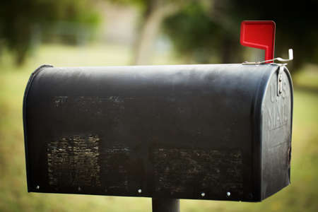 Mail Box with a red flag and copy space.