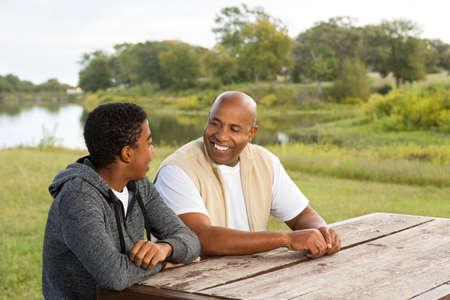African American father and son.