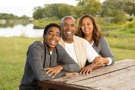 Happy Family Outside.