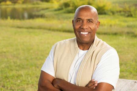 African American mature man smiling.